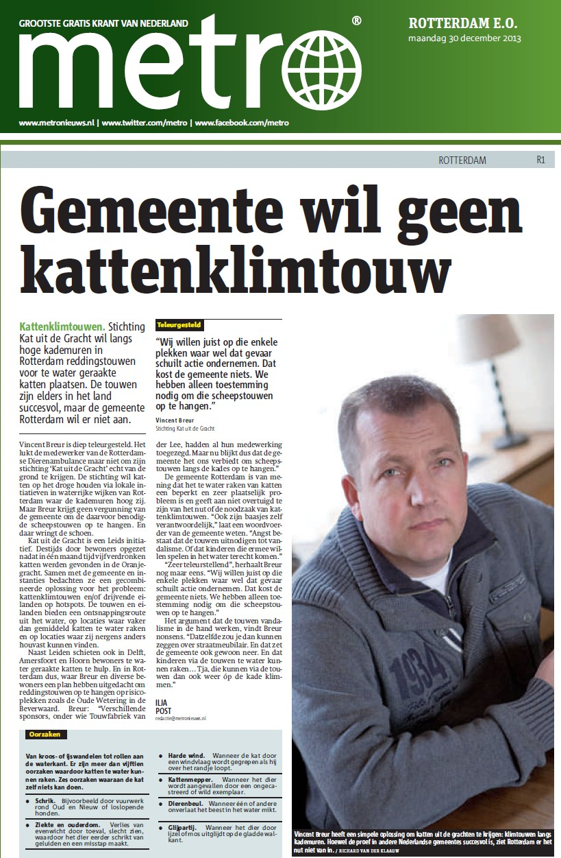 Artikel in Metro, 30dec2013, over KUG Rotterdam