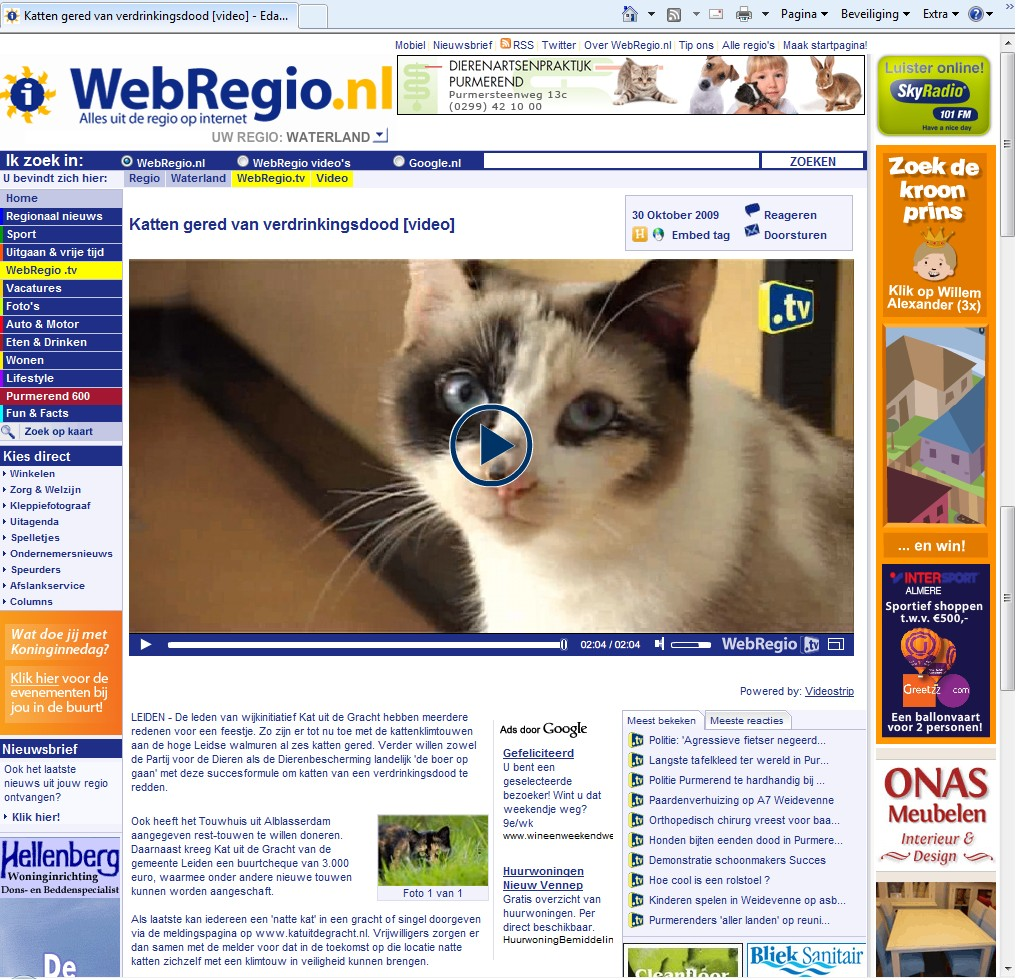 Webregio-video over Edamse kattenverdrinkingen